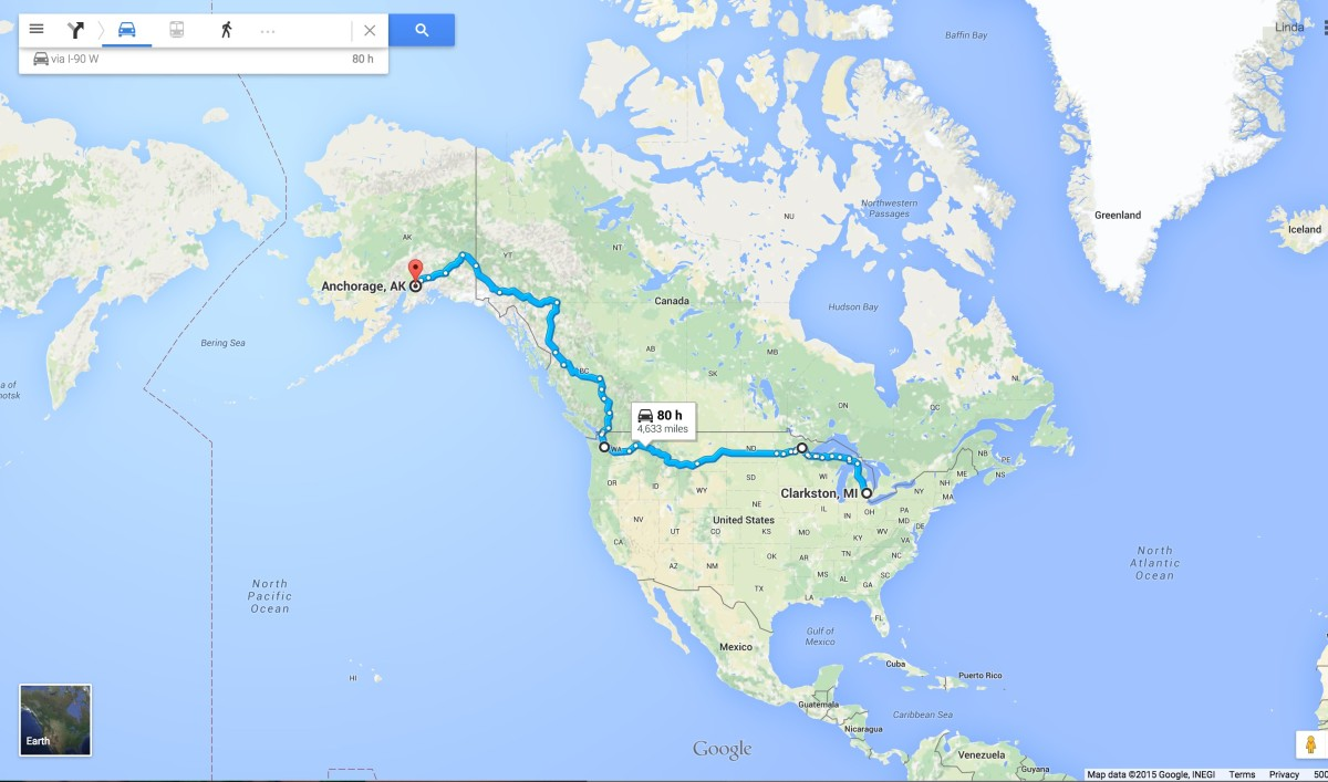 Murphman road trip route from AK to MI. Alaska to the Midwest